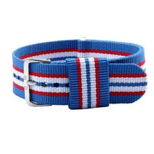 Mode Rode Blauwe en Witte Streep Canvas Vervanging Polshorloge Band Strap 20mm Nieuwe Perfecte Geschenken nov27(China)