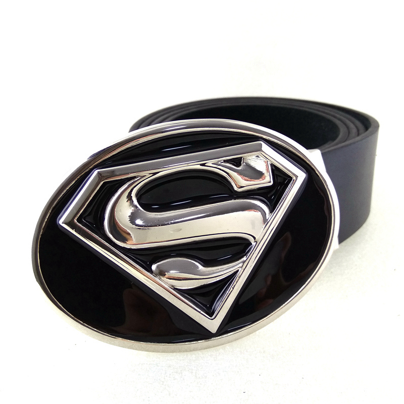 New Arrival Leather Belt Men Superhero Silver Black Superman Belt mens big buckle belts for jeans