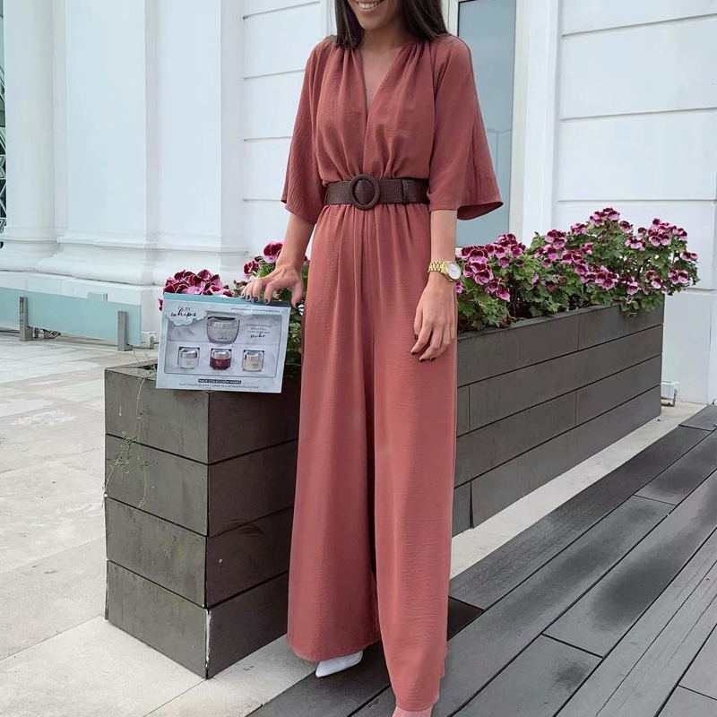 2020 Women Jumpsuits Solid Casual Summer Beach Jumpsuit Rompers Short Sleeve V Neck Sexy Long Rompers With Belt