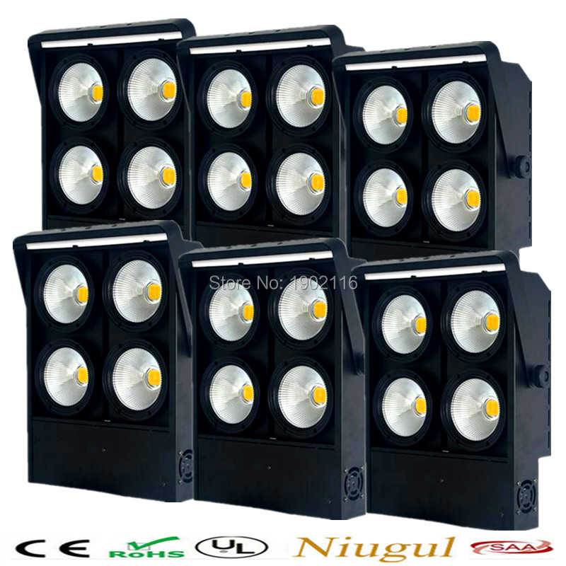 6pcs/lot Professional 4x100W LED blinder light 4eye COB LED Wash Light High power DMX Stage Lighting Four head COB audience lamp blinder m45 x treme