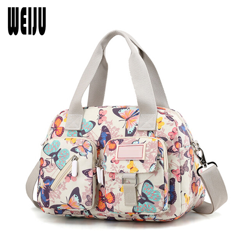 WEIJU Women Messenger Bags New Nylon Casual Shoulder Bag Floral Printing Handbags Crossbody Bag for Woman Bolsa Feminina new arrival messenger bags fashion rabbit fair for women casual handbag bag solid crossbody woman bags free shipping m9070