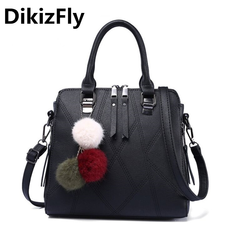 DikizFly Fashion Casual Totes bags women messenger bags Ladies Brand Leather Handbags Shoulder bag for woman Bolso Mujer KYKKH45 new genuine leather bags for women famous brand boston messenger bags handbags tassel tote hand bag woman shoulder big bag bolso
