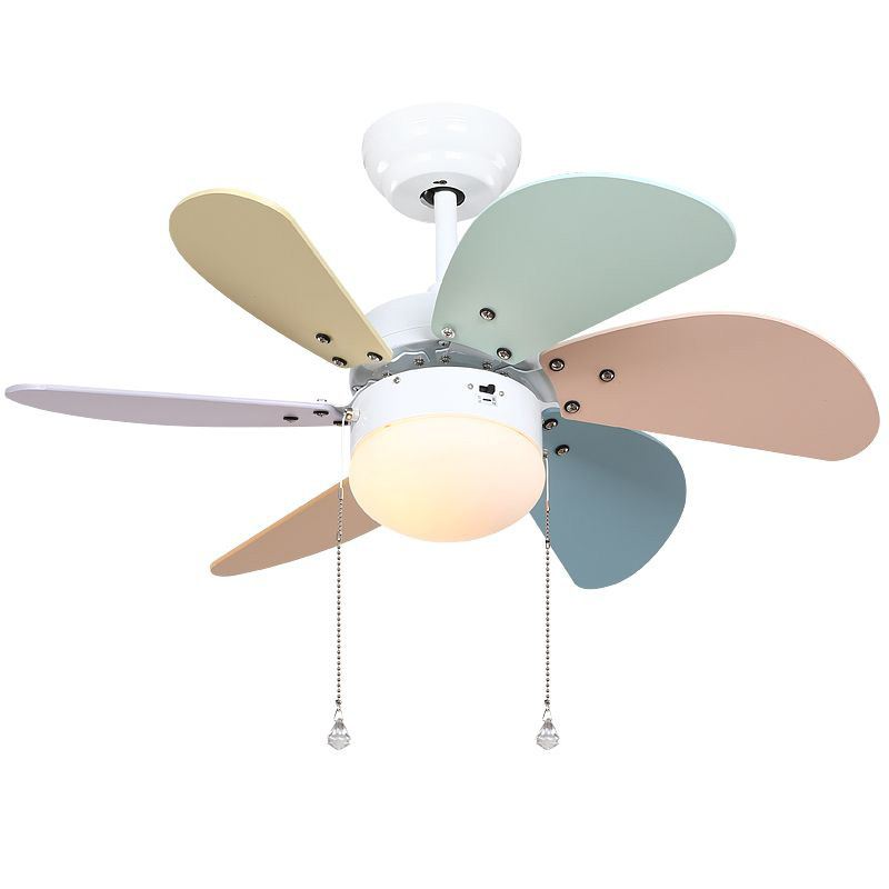 Colorful wooden fan blade ceiling fans glass lampshade for Ventilatori a soffitto ikea
