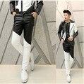Панк черный белый пэчворк мальчики искусственного узкие мужские кожа брюки мужчины бегунов брюки брюки