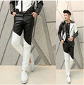Free Shipping Fashion 2015 Punk Black White Patchwork Boys Faux Skinny Mens Leather Pants Men Joggers Cool Pants Trousers