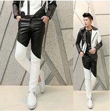 Free Shipping Fashion 2015 Punk Black White Patchwork Boys Faux Skinny Mens Leather Pants Men Joggers Cool Pants Trousers