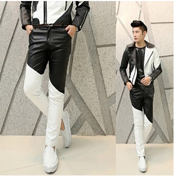 Free Shipping Fashion 2017 Punk Black White Patchwork Boys Faux Skinny Mens Leather Pants Men Joggers