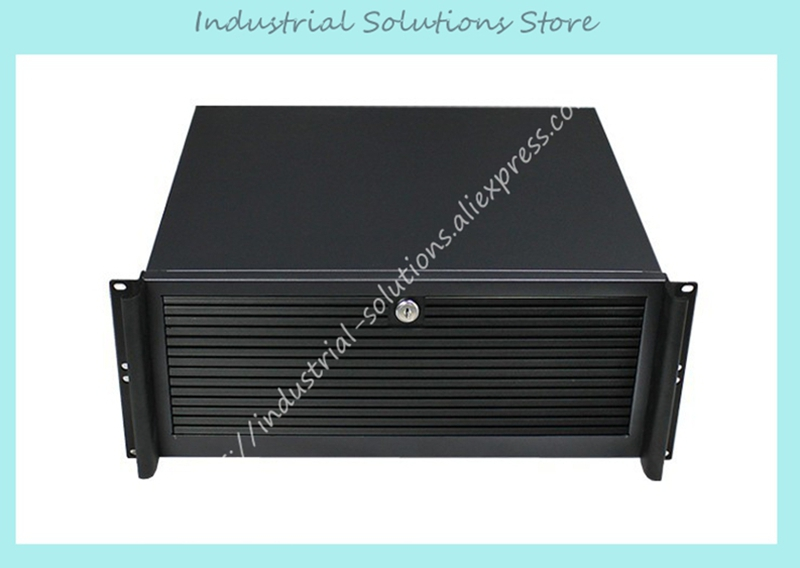 New 4U Industrial Computer Case Aluminum Panel Full Open Door new ultra short 4u computer case 380mm aluminum panel full open door double server large panel industrial computer case