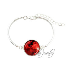 Black red full moon bangles moon bracelets silver plated adjustable bracelet glass cabochon planet bangle pulseiras feminina