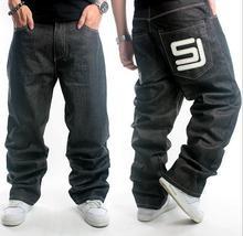 Европейский Добавил Широкий Дополнительный большой размер Длинные Брюки мужская Мода Хип-Хоп Джинсы Повседневные Брюки Размер: 30-44