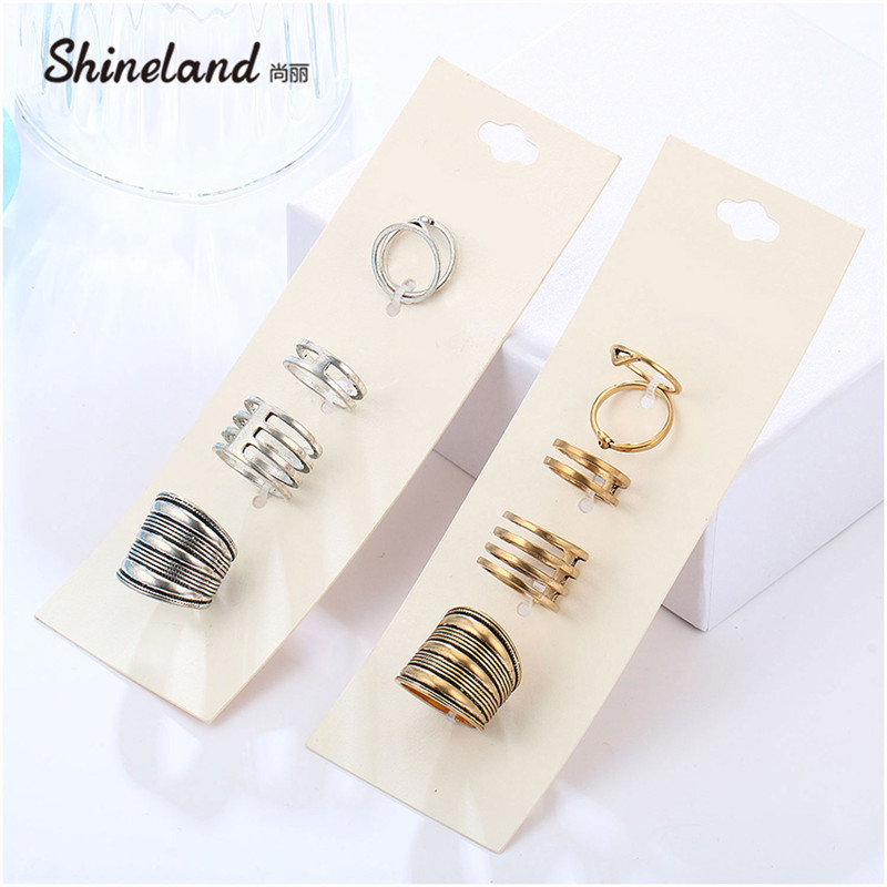 Shineland Fashion Jewelry New 5PCS/Set Vintage Rings Antique Gold Silver Color Alloy Simple Punk Geometric Ring Set anel de dedo