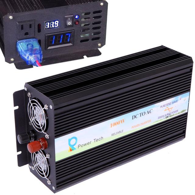 2000W Peak LED Display 1000W Off Grid Pure Sine Wave Inverter DC 12/24/48v to AC 100/110/220/230V home solar system car inverter