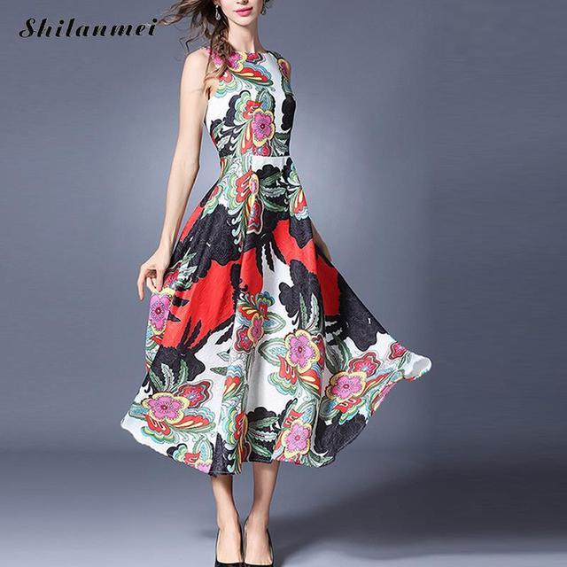 da89f24d75c1 Vestito Da Estate delle donne Abito Lungo abiti vestiti estivi donna robe  ete dimagrisce jacquard Elegante