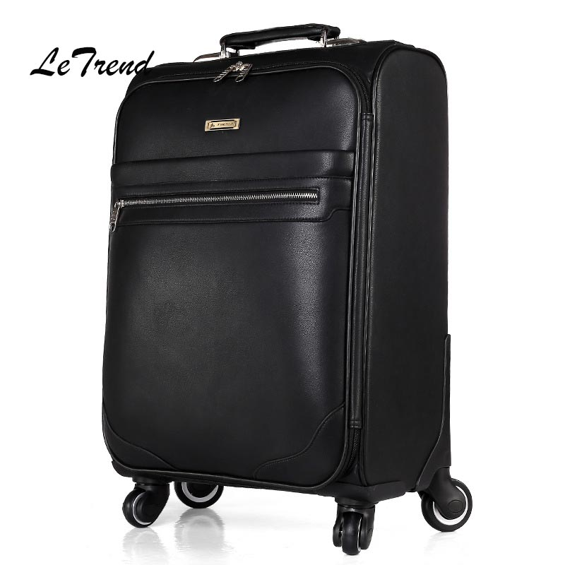 цена Letrend Spinner Rolling Luggage Business Trolley Men Suitcases Wheels PU Leather Trunk 16 inch Cabin Travel Bag