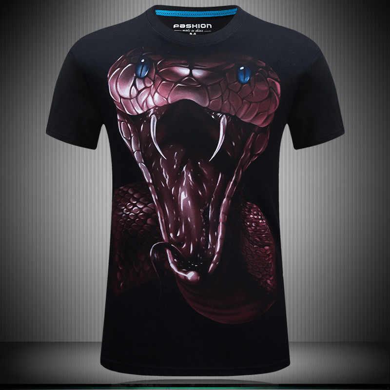 2019 Летняя мужская брендовая одежда, футболка с круглым вырезом и коротким рукавом, футболка с изображением животного змеи, 3D цифровая печать, футболка Homme, большой размер 5XL