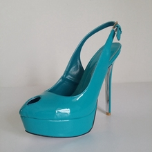 Blue Green Patent Leather Women Pumps Peep Toe Slingback Open Heel High Heels 14cm Thick Platform Real Photo Shoes Ladies
