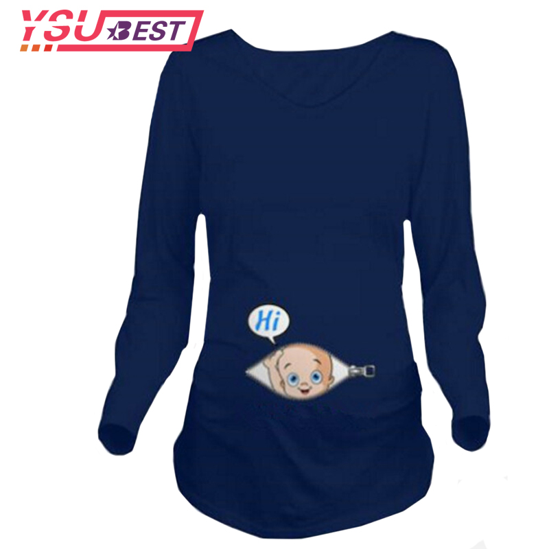 New Autumn Maternity T-shirts Tees Women Cute Maternity Clothes Tops Funny Pregnancy Long Sleeve T shirts Pregnant Zwanger Shirt