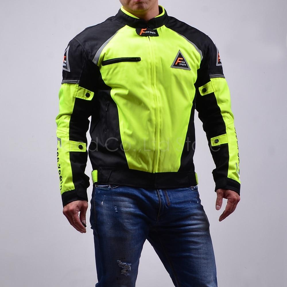 Топ хороший мотоциклами куртка высокая производительность гонки костюмы Ветрозащитные теплый четыре сезона можно использовать 2 в 1 и брони 5шт НЖ-409 зеленый