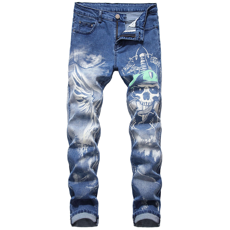 Sokotoo Men's 3D Skull Printed Jeans Plus Big Size Slim Straight Wings Painted Blue Stretch Pants