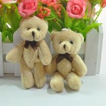 50pcs 8cm,11cm Mini Joint Beige color Teddy Bear Plush toys Birthday Party bouquet pendant Key chain Valentine's Day Decoration