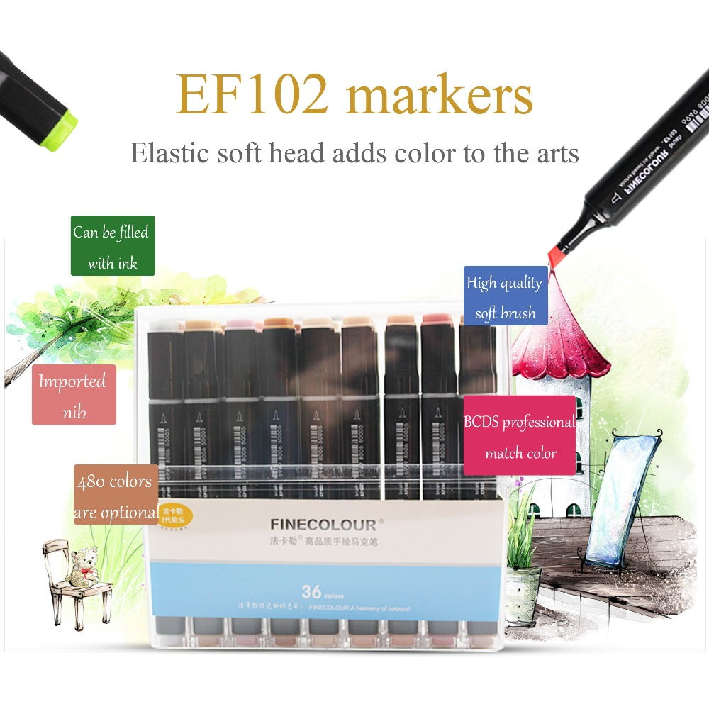 Finecolour EF102 480 Colors Alcohol Based Ink Soft Brush Sketch Painting Art Markers finecolour ef102 alcohol ink double headed soft brush marker pen red series drawing sketch art markers