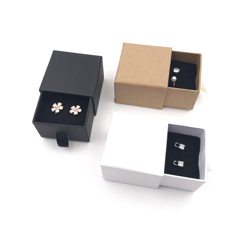 Brown Kraft Paper Drawer Style Earring Ring Box Packaging 5x5x3.8cm Black White Jewelry Paper Box 10pcs Cardboard Boxes Pink