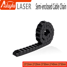 Cable Chain Semi-Enclosed 15*20 30 40 50mm Wire Transmission Carrier Plastic Drag Towline For 3D Printer CNC Engraving Machine 20x75 10meters fully enclosed type reinforced nylon wire carrier for cnc route machine