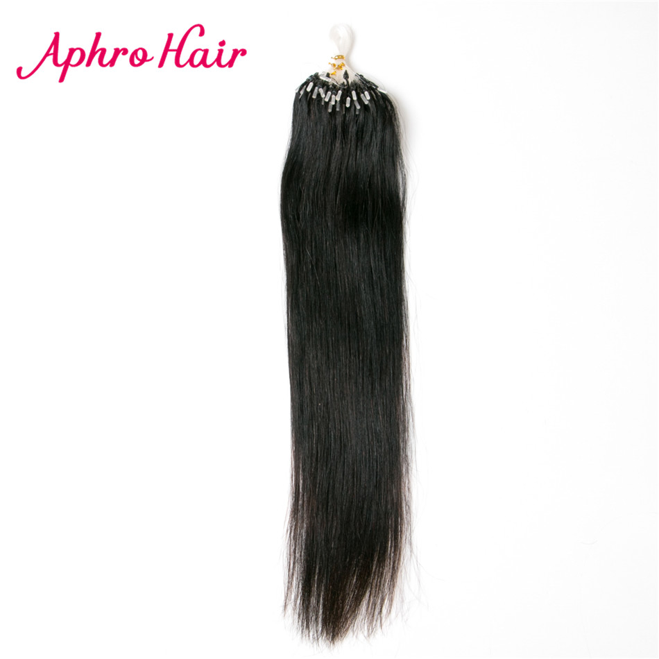 Aphro Hair Micro Loop Hair Extension 0 5g strand 200s Brazilian Straight Hair Non Remy Human