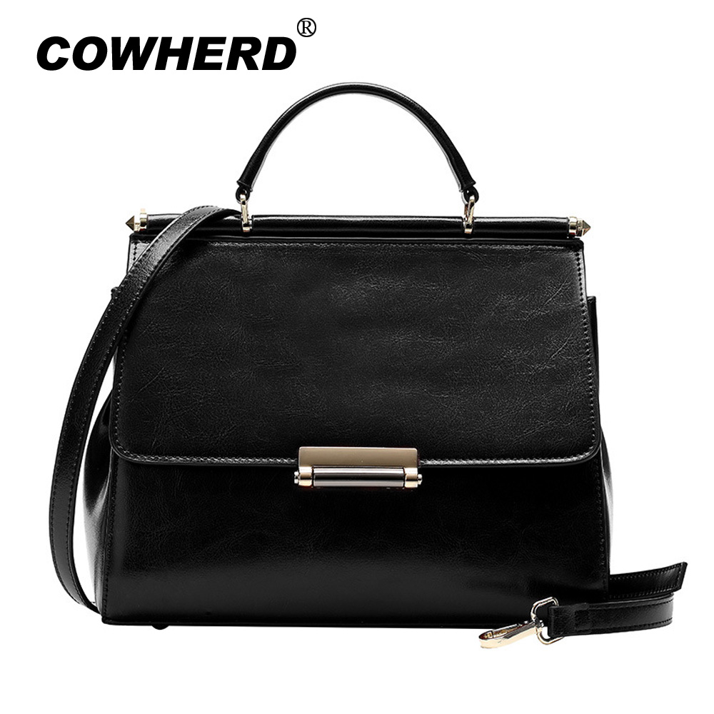 COWHERD 100% Real Cow Leather Lady Hand Bags Women Genuine Leather Handbag Shoulder Bag Hign Quality Design Luxury Brand Bag donghong real cow leather ladies hand bags women genuine leather handbag shoulder bag hign quality designer luxury brand bag