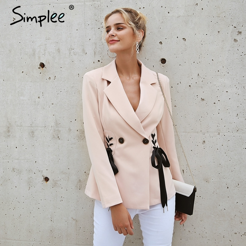Simplee Autumn Ol Double Breasted Suit Coat Elegant Side Tie Up Cool Winter Outwear V Neck Short Coat Office Lady 2018