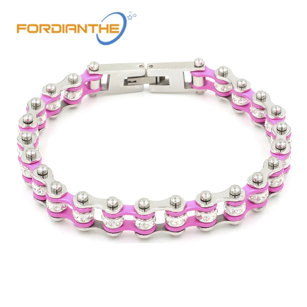 New Punk Pink Bicycle Motorcycle Chain Bracelets & Bangles Stainless Steel Bracelet Women Biker Woman Jewelry Gift Wholesale 23mm width punk stainless steel bracelet men double biker bicycle motorcycle chain men s bracelets mens big bracelets