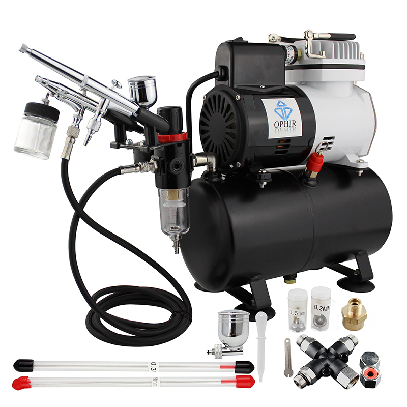 OPHIR Airbrush Kits Air Compressor with Splitter Suitable for Cake Decoration Temporary Tattoo_AC115+004A+074+038 ophir cake airbrush kit with air compressor edible pigment