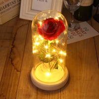 Rose Glass Cover Preserved Fresh Flower LED Flashing Glowing Floral Vase Glitter Luminous Home Decor Prop