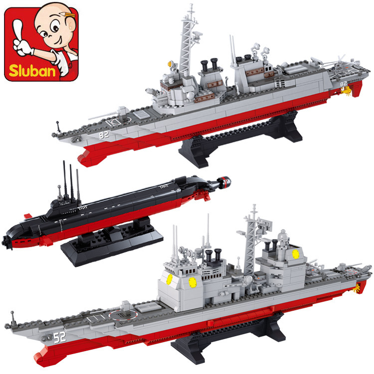 Sluban Marine battle Aircraft carrier group compatible with lego 3 in 1 building block set Construction Model Brick