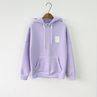 Solid Hooded Hoodies for Women 2017 Hot Sale Korean Pocket Casual Fitness Pullovers Leisure Sweatshirts Drawstring 6 Candy Color