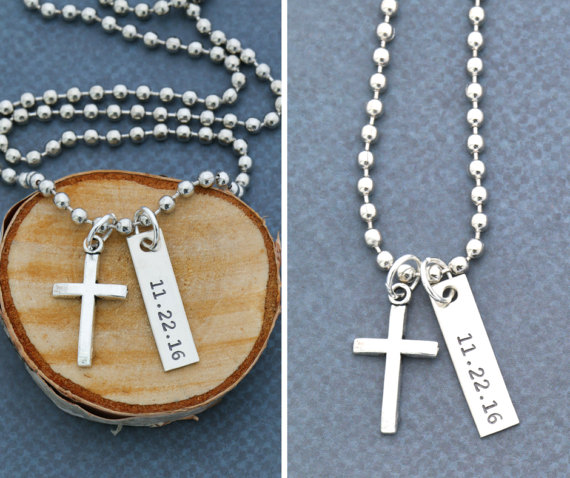 Boys Confirmation Gift Necklace Personalized Baptism Date Cross Jewelry YLQ0587