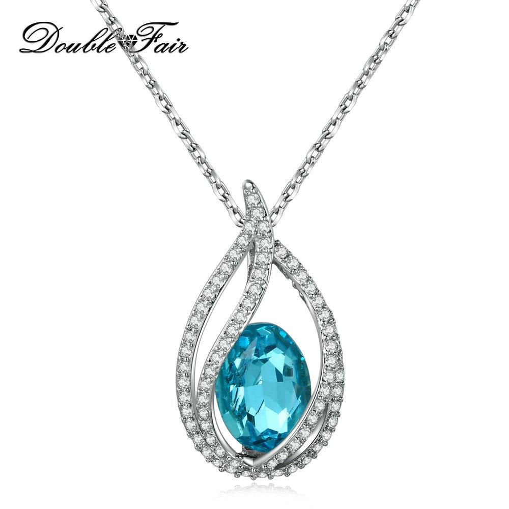 Big Blue Crystal Necklace Pendants Silver Color Elegant Wedding