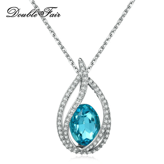 Double Fair Unique Cubic Zirconia Big Blue Crystal Necklace & Pendants Silver Color Elegant Wedding Jewelry For Women DFN292