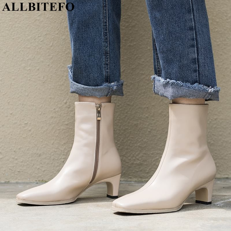 ALLBITEFO large size:33-43 genuine leather thick heel women boots fashion high heels ankle boots winter girls motorcycle bootsALLBITEFO large size:33-43 genuine leather thick heel women boots fashion high heels ankle boots winter girls motorcycle boots