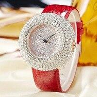 Jbaili Для женщин Часы Большой Bling Белый со стразами новая мода Дизайн кварцевые часы Женское платье Наручные часы кожаный ремешок подарок