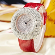 Jbaili relógios femininos grande bling branco strass novo design de moda relógio de quartzo feminino vestido de pulso pulseira de couro presente