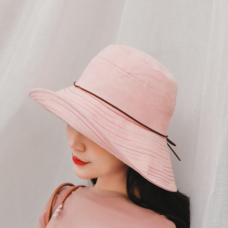 SUOGRY Women Summer Sun Hat Ladies Solid Wide Brim Hats Anti UV Female Flat Top Fisherman Cap Fishing Hat Korea Style Bucket Hat in Women 39 s Bucket Hats from Apparel Accessories