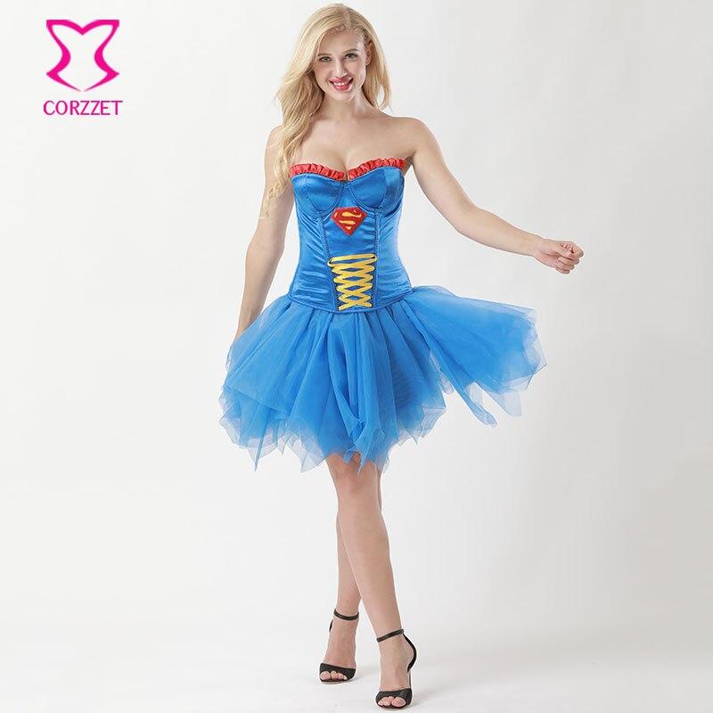 Blau Frauen Supergirl Cosplay Gothic Kleid Viktorianischen Party ...