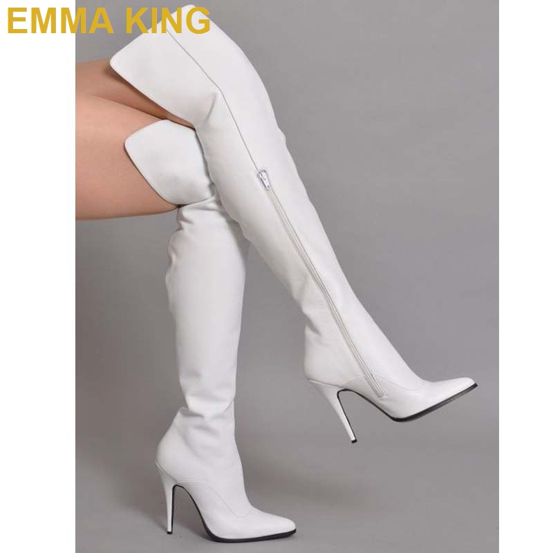 White Leather Over the Knee Women Winter Boots Ladies Stiletto High Heels Pointed Toe Zipper High Boots Fashion Womens ShoesWhite Leather Over the Knee Women Winter Boots Ladies Stiletto High Heels Pointed Toe Zipper High Boots Fashion Womens Shoes