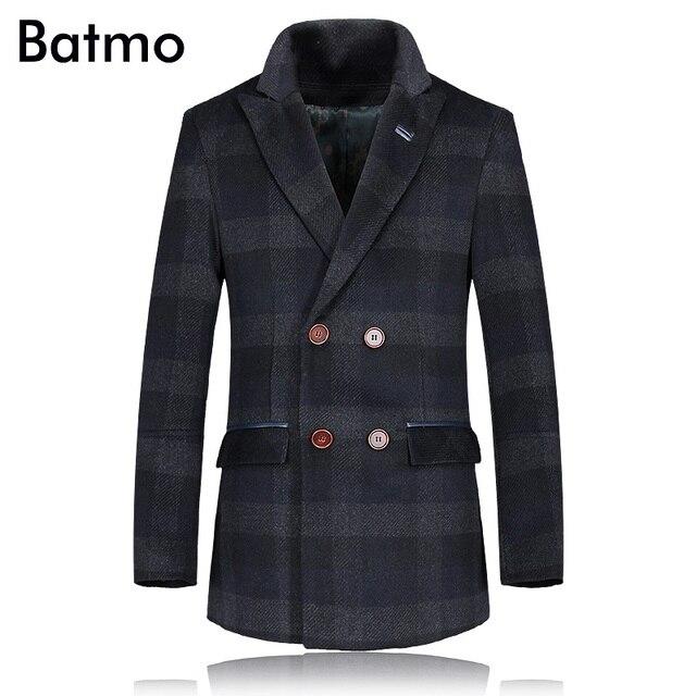 2017 зима 85% Шерсть плед мужской траншеи пальто Мужчины Двубортный Траншеи Верхняя Одежда Повседневная Пальто мужская Куртка ветровка