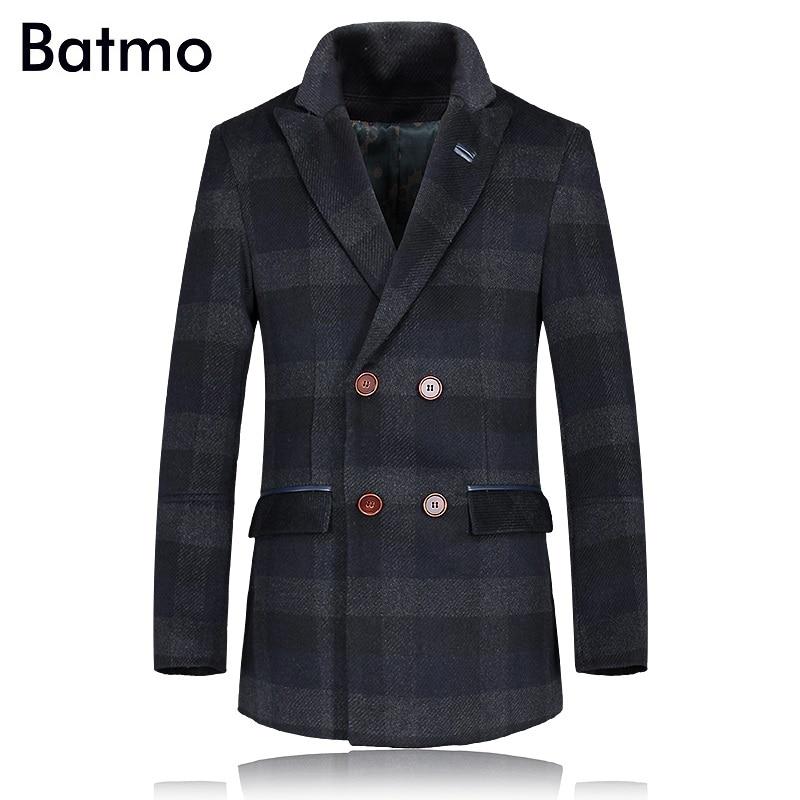 2017 winter 85% Wool plaid men's trench coat Men Double Breasted Trench Men Outerwear Casual Coat Men's Jacket Windbreaker