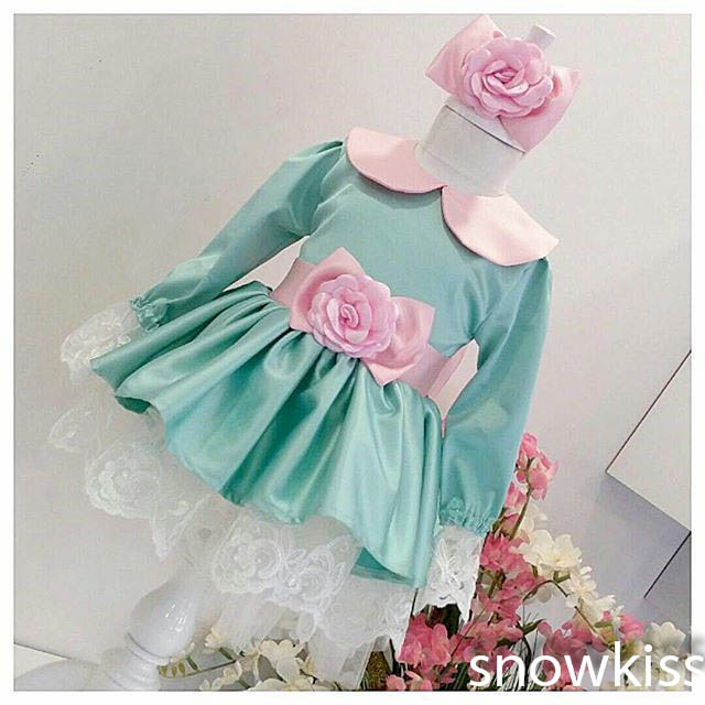 Cute Green flower girl dresses with Pink Bow baby 1 year Birthday Party Dress beauty toddler girl pageant dresses ball gowns