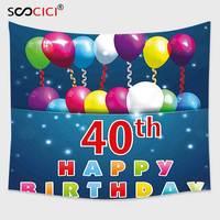 Cutom Гобелены стене, 40TH на день рождения Аксессуары особый день сюрприз случаю вечерние красочные Шарики Ленты многоцветный