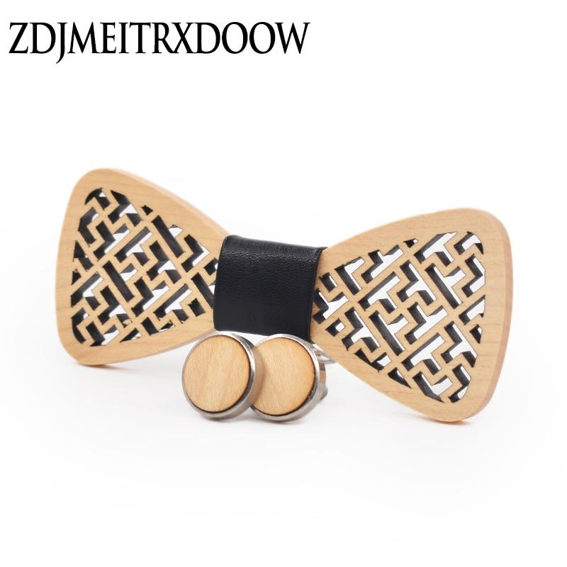 Nieuw ontwerp geometrische gesneden houten manchetknopen Tie set Shirt manchetknopen Tie Suit houten pakket strikjes voor mannen stropdas