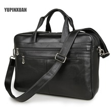 YUPINXUAN Europe Classical Black Cow Leather Travel Bags Men 17″ Laptop Handbags Large Capacity Briefcases Leather Messenger Bag